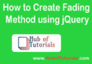 How to Create Fading Method using jQuery