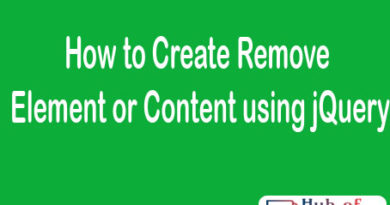 How to Create Remove Element or Content using jQuery