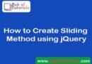 How to Create Sliding Method using jQuery